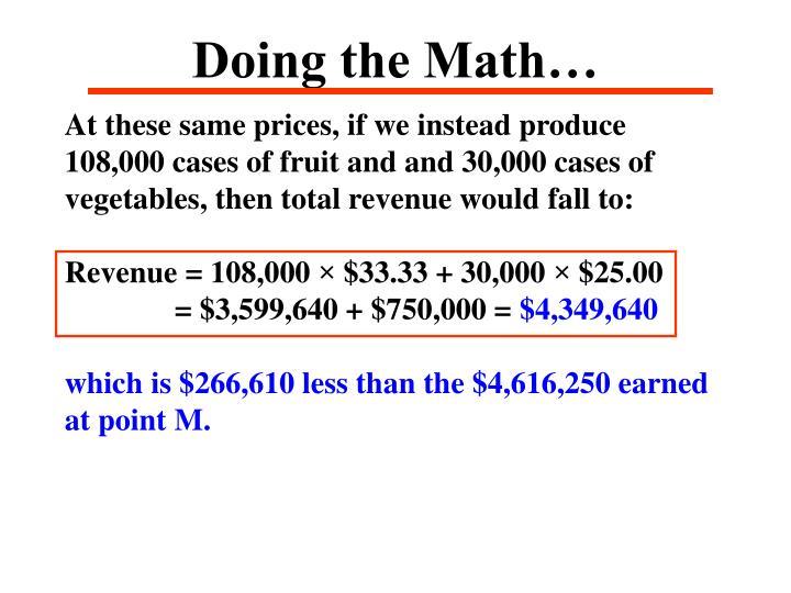 Doing the Math…