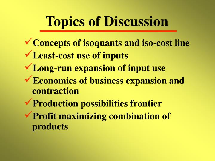 Topics of discussion