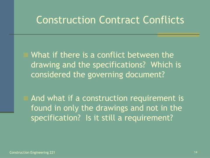 Construction Contract Conflicts