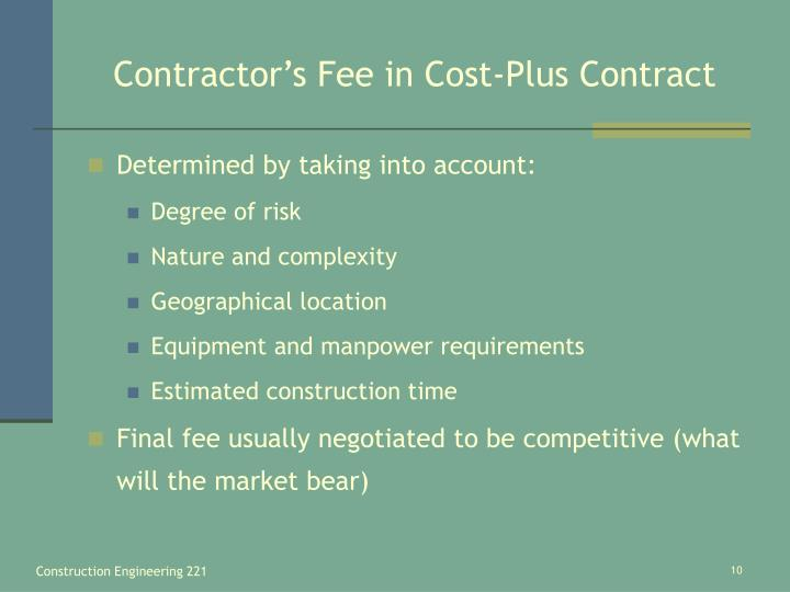 Contractor's Fee in Cost-Plus Contract