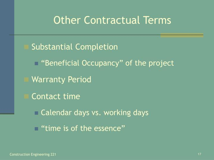 Other Contractual Terms