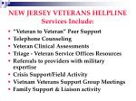 new jersey veterans helpline services include