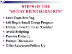 steps of the 60 day reintegration