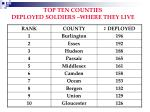 top ten counties deployed soldiers where they live