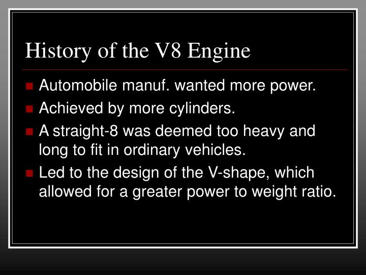 History of the v8 engine