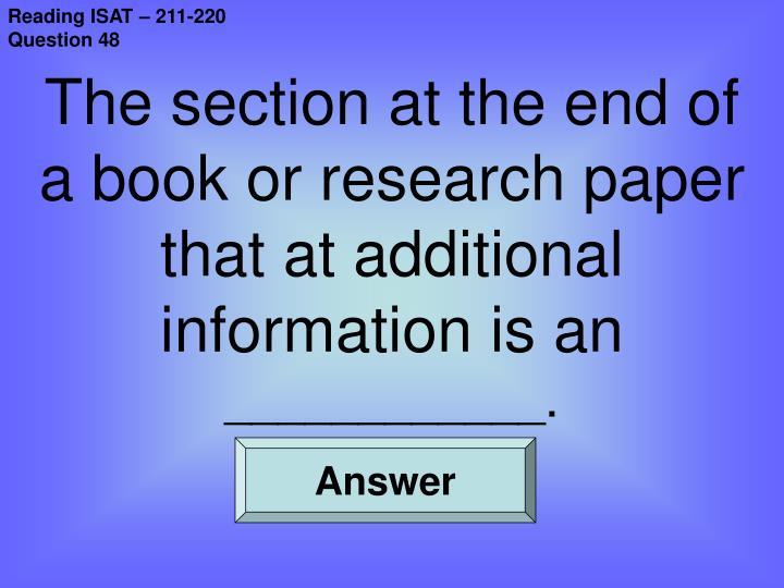 Reading ISAT – 211-220