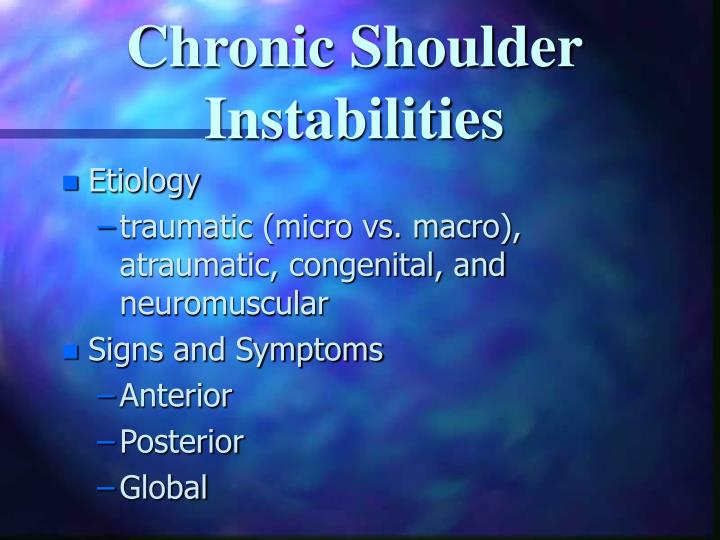 Chronic Shoulder Instabilities