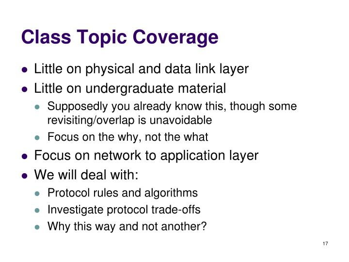 Class Topic Coverage