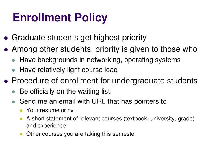 Enrollment Policy