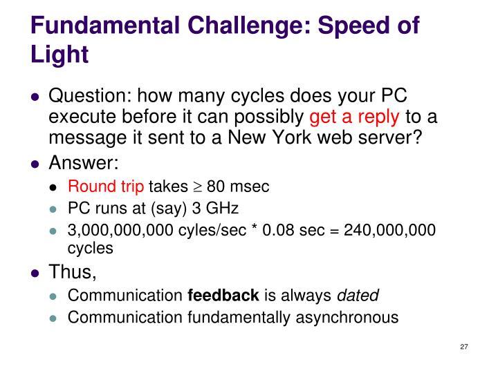 Fundamental Challenge: Speed of Light