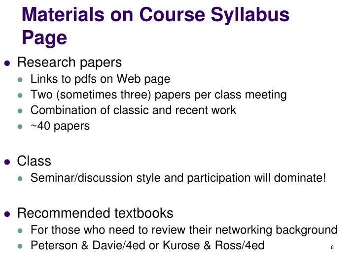 Materials on Course Syllabus Page