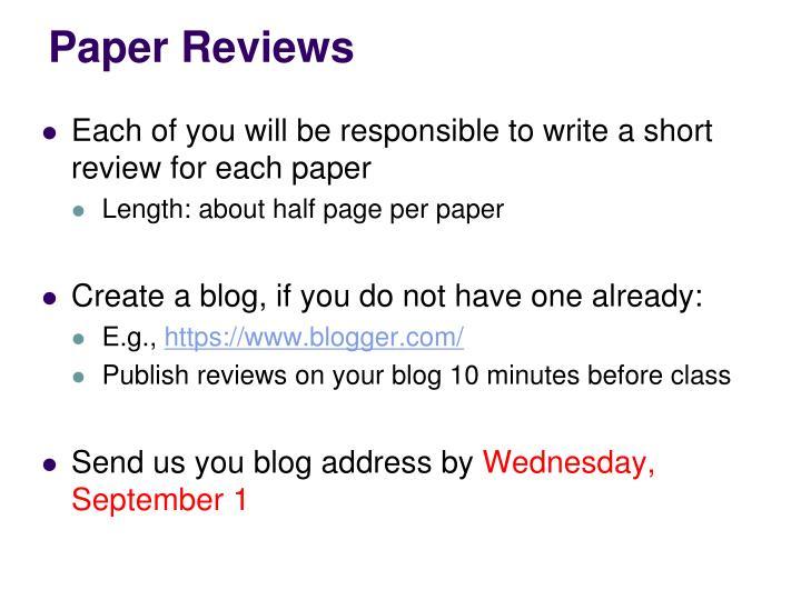Paper Reviews