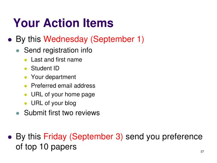 Your Action Items