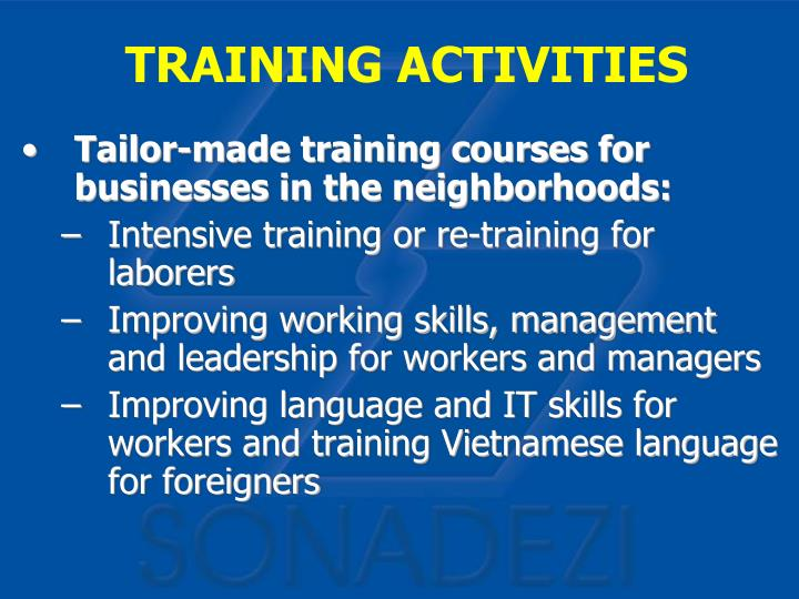 Tailor-made training courses for businesses in the neighborhoods: