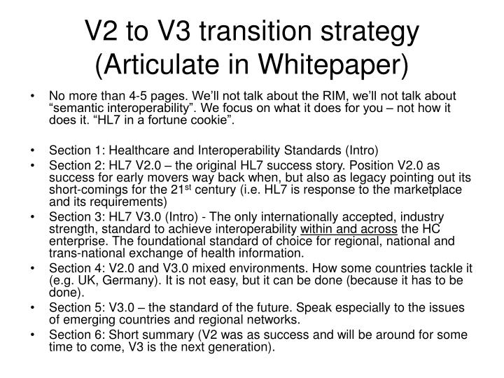 V2 to V3 transition strategy