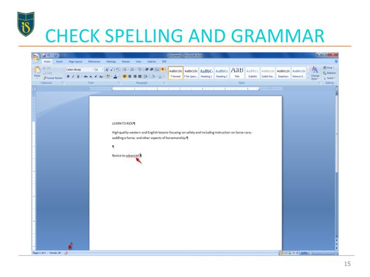 CHECK SPELLING AND GRAMMAR