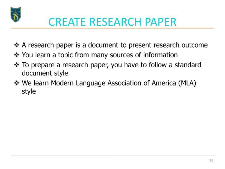 CREATE RESEARCH PAPER