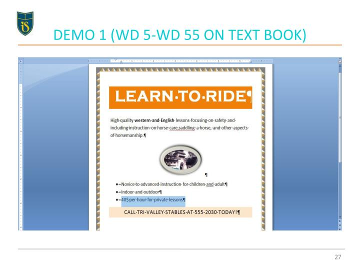 DEMO 1 (WD 5-WD 55 ON TEXT BOOK)