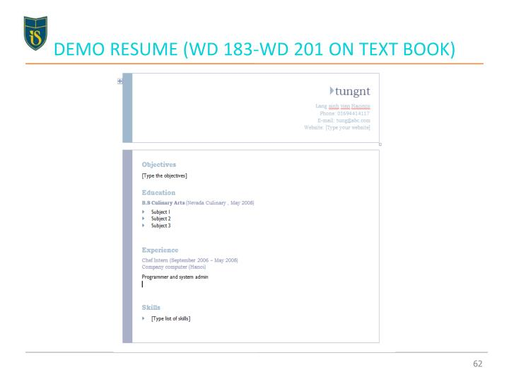 DEMO RESUME (WD 183-WD 201 ON TEXT BOOK)