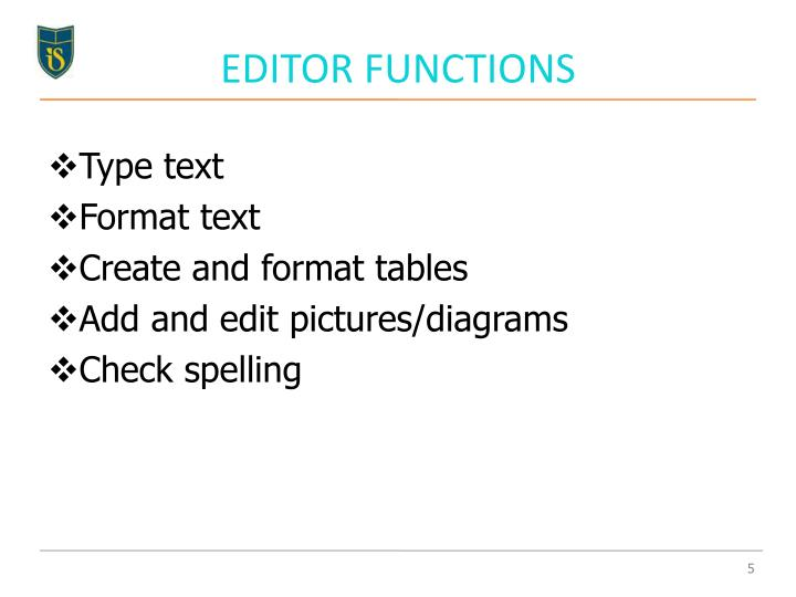 EDITOR FUNCTIONS