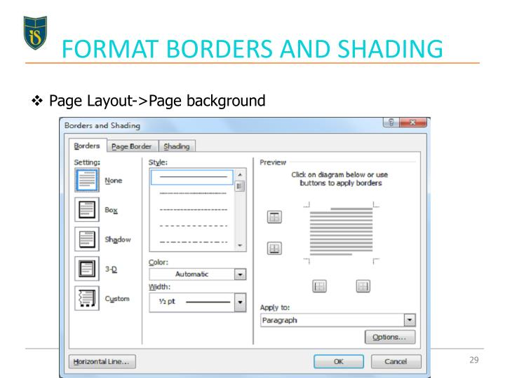 FORMAT BORDERS AND SHADING