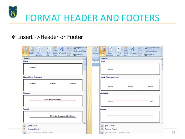FORMAT HEADER AND FOOTERS