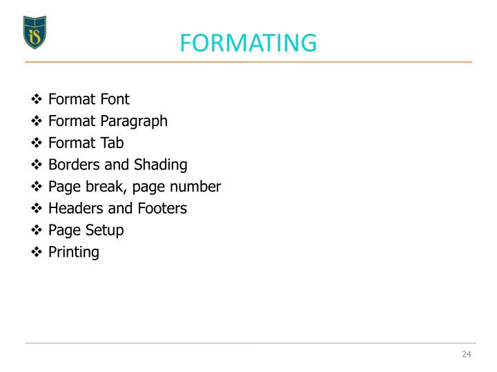 FORMATING