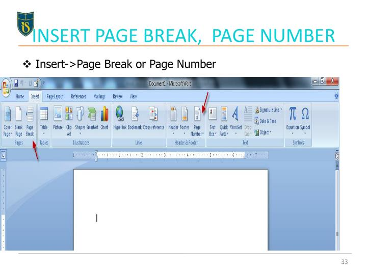 INSERT PAGE BREAK,  PAGE NUMBER