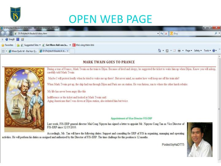 OPEN WEB PAGE
