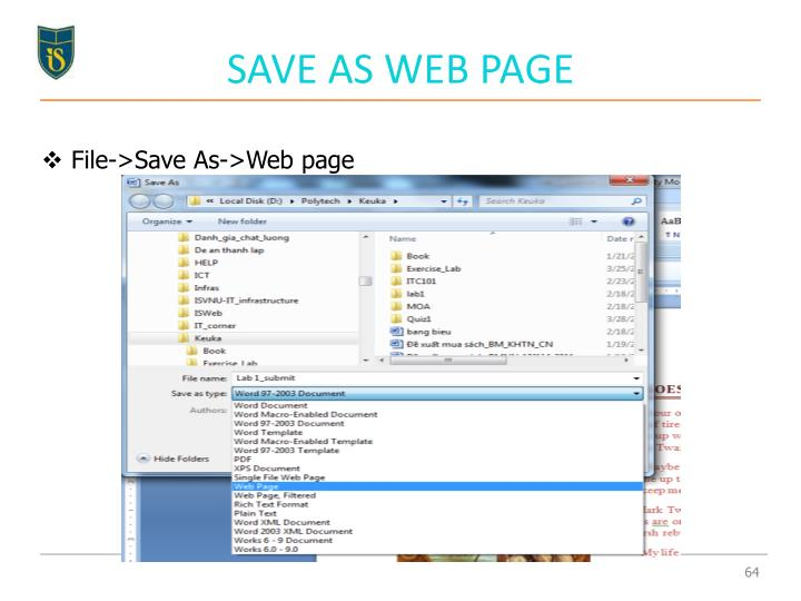 SAVE AS WEB PAGE