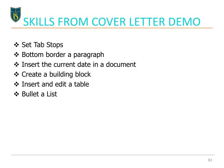 SKILLS FROM COVER LETTER DEMO