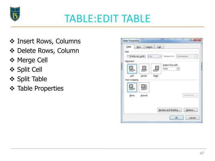 TABLE:EDIT TABLE