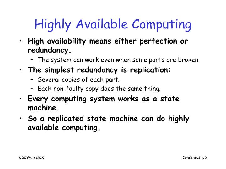 Highly Available Computing