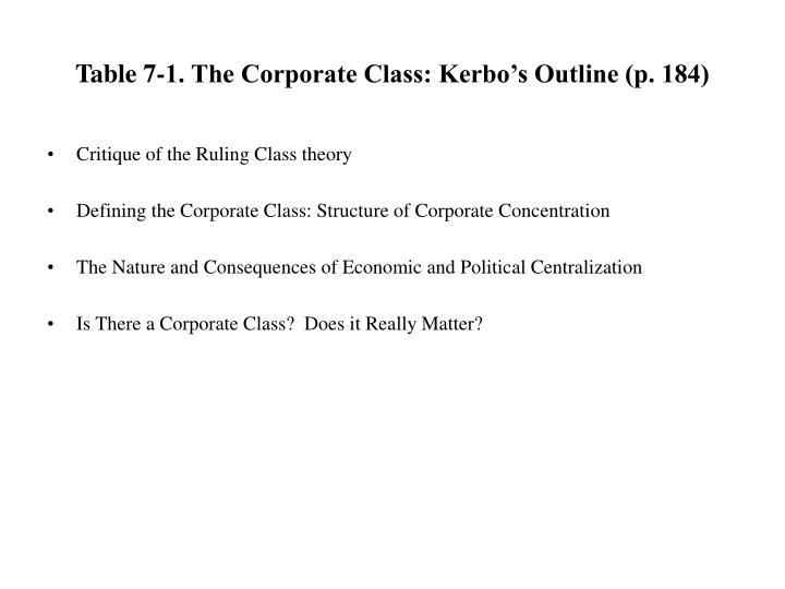 Table 7 1 the corporate class kerbo s outline p 184