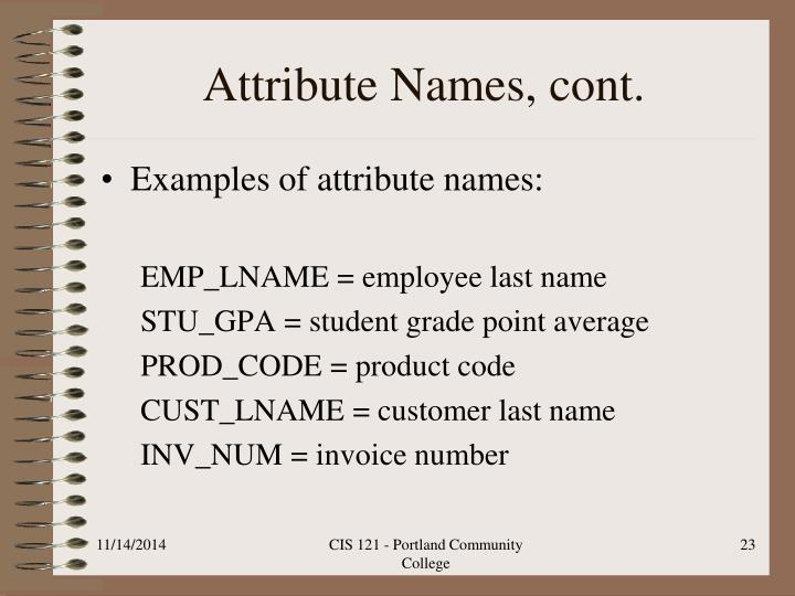 Attribute Names, cont.