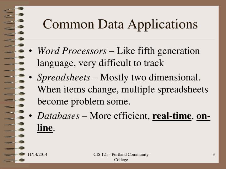 Common data applications