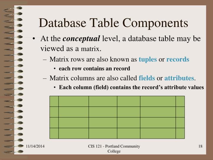 Database Table Components