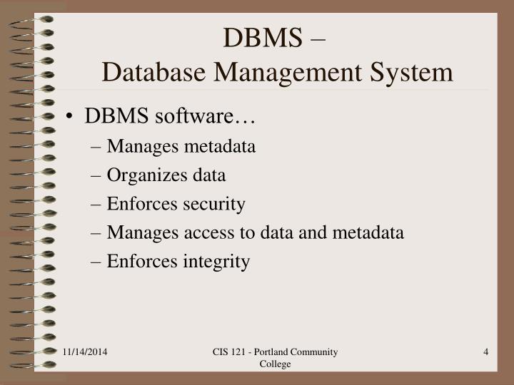 DBMS –
