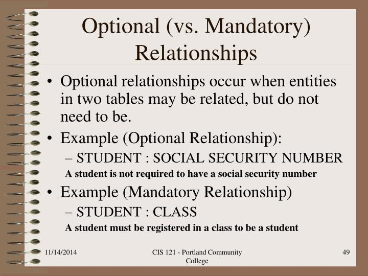Optional (vs. Mandatory) Relationships