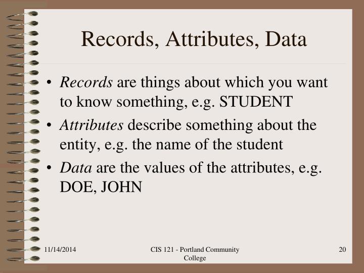 Records, Attributes, Data