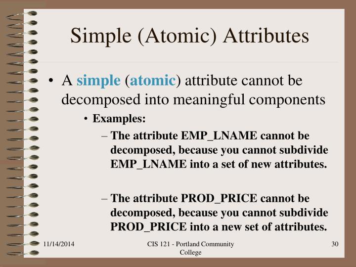 Simple (Atomic) Attributes