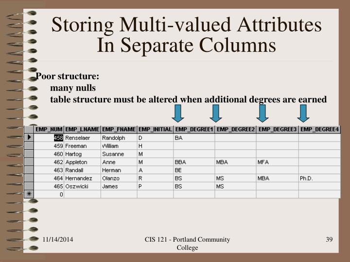 Storing Multi-valued Attributes In Separate Columns