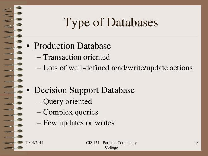 Type of Databases