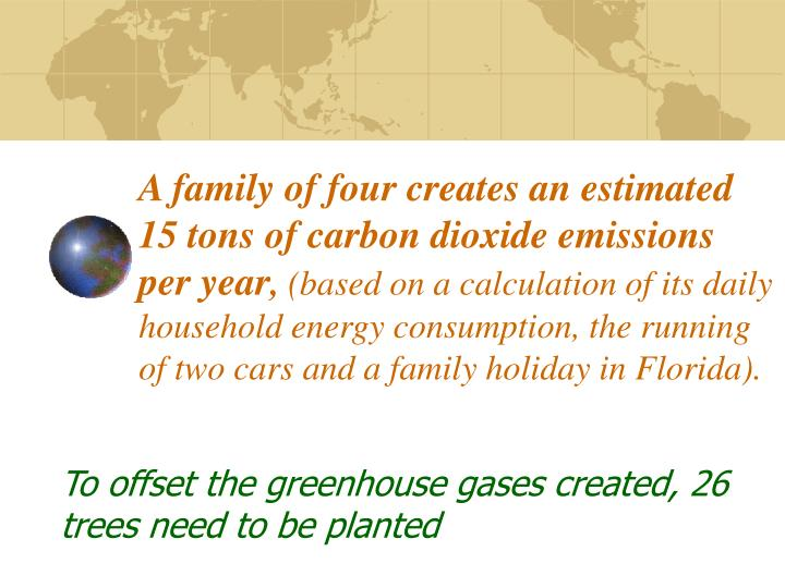 A family of four creates an estimated 15 tons of carbon dioxide emissions per year