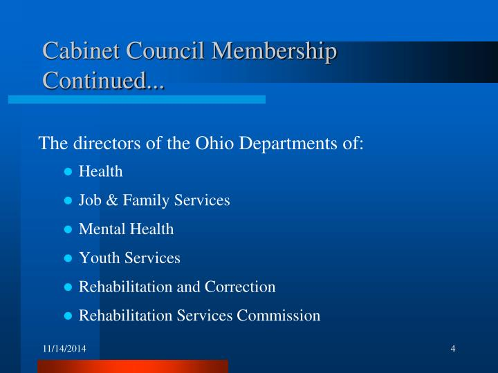 Cabinet Council Membership Continued...