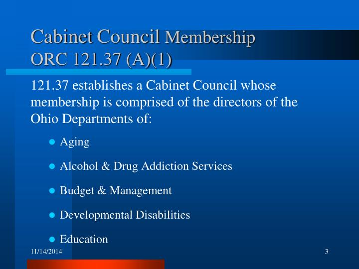 Cabinet council membership orc 121 37 a 1