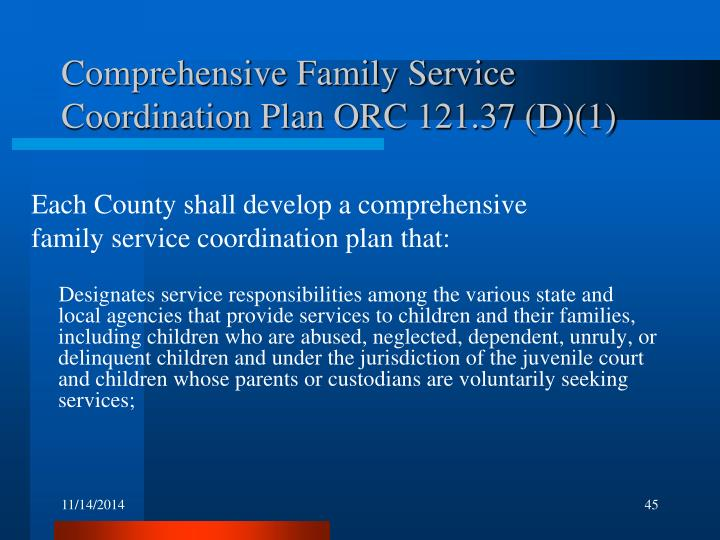 Comprehensive Family Service Coordination Plan ORC 121.37 (D)(1)