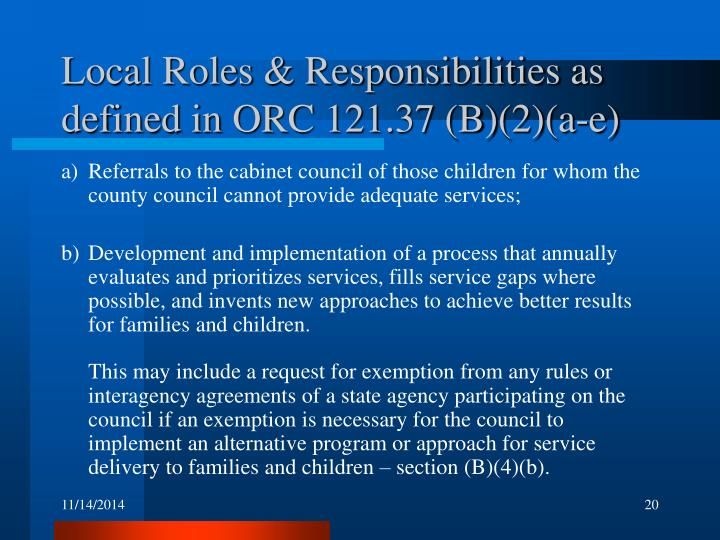 Local Roles & Responsibilities as defined in ORC 121.37 (B)(2)(a-e)