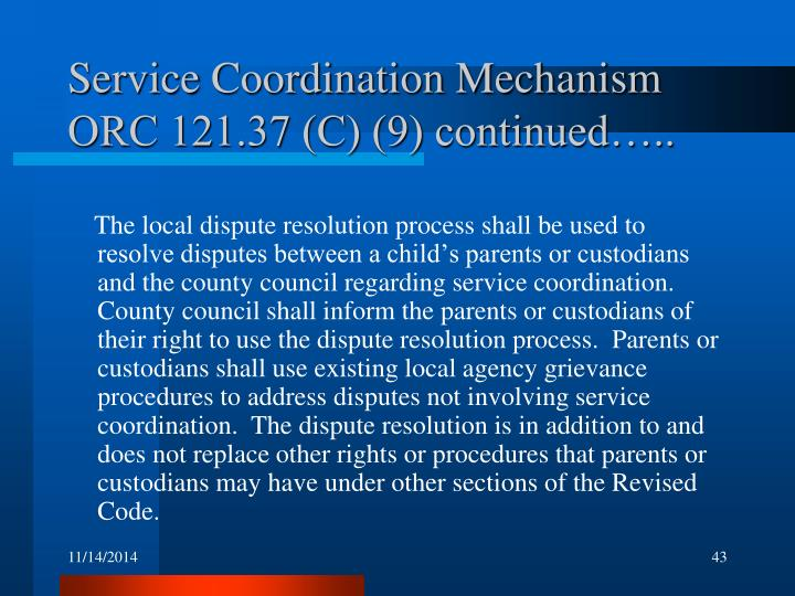 Service Coordination Mechanism ORC 121.37 (C) (9) continued…..
