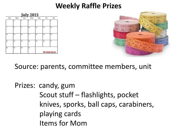 Weekly Raffle Prizes